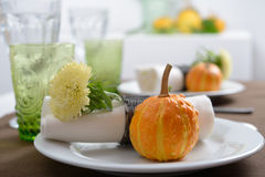 Thanksgiving table setting Stock Photos