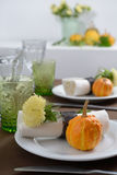 Thanksgiving table setting. With decorative pumpkins Stock Image