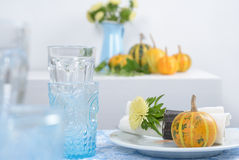 Thanksgiving table setting. With decorative pumpkins Stock Photos