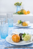 Thanksgiving table setting. With decorative pumpkins Royalty Free Stock Photography