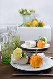 Thanksgiving table setting. With decorative pumpkins Royalty Free Stock Images