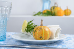 Thanksgiving table setting. With decorative pumpkins Royalty Free Stock Photo