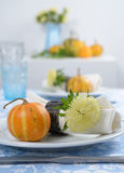 Thanksgiving table setting. With decorative pumpkins Stock Photography