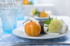 Thanksgiving table setting. With decorative pumpkins Stock Images