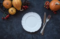 Thanksgiving table setting. Autumn decor with pumpkins stock photos
