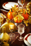 Thanksgiving table setting decoration Royalty Free Stock Images