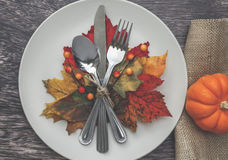 Thanksgiving Table Setting. For Dinner Royalty Free Stock Images
