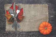 Thanksgiving Table Setting. Thanksgiving holiday table setting arrangement Royalty Free Stock Photos
