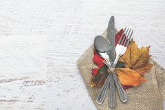 Thanksgiving Table Setting. Thanksgiving holiday table setting arrangement Stock Photos