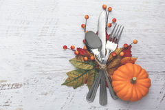 Thanksgiving Table Setting. Thanksgiving holiday table setting arrangement Stock Images
