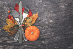 Thanksgiving Table Setting. Thanksgiving holiday table setting arrangement Royalty Free Stock Photo