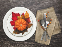 Thanksgiving Table Setting. Thanksgiving holiday table setting arrangement Royalty Free Stock Image