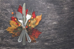 Thanksgiving Table Setting. Thanksgiving holiday table setting arrangement Royalty Free Stock Photography