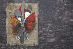 Thanksgiving Table Setting. Thanksgiving holiday table setting arrangement Royalty Free Stock Images