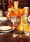 Thanksgiving table setting. Holiday decoration Stock Photo