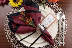 Thanksgiving table setting with lace doily place setting  - aerial. Beautiful Thanksgiving table setting with lace doily place setting and fine bone chia with Royalty Free Stock Images