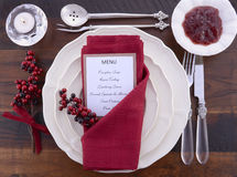 Thanksgiving Table Setting with Menu. Royalty Free Stock Image