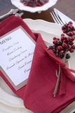 Thanksgiving Table Setting with Menu. Royalty Free Stock Photo