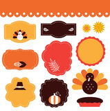 Thanksgiving tags and elements set. Thanksgiving frames and tags. Vector collection Stock Photo