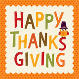 Thanksgiving text card owl orange border Stock Photography