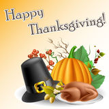 Thanksgiving text frame with pumpkin and turkey Stock Image