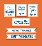 Thanksgiving text set. Set of thanksgiving theemed greetings and quotes on seamless background. Decorativ design elements vector illustration
