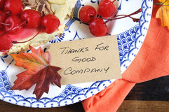 Thanksgiving, Thanks for Good Company place card closeup. Stock Photo