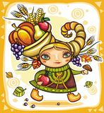Thanksgiving theme 12. Happy cute girl wearing Cornucopia hat full of colorful fruits and vegetables, celebrating harvest festival Royalty Free Illustration