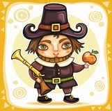 Thanksgiving theme 7. Thanksgiving happy cartoon pilgrim man with blunderbuss Stock Images