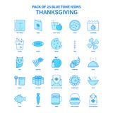Thanksgiving Tone Icon Pack bleue - 25 ensembles d'icône illustration libre de droits