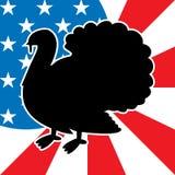 Thanksgiving turkey. Silhouette with usa flag Royalty Free Stock Photos