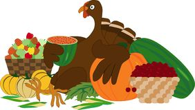 Thanksgiving turkey. With autumn vegetables and fruits stock illustration