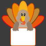 Thanksgiving turkey with banner. Colorful illustration of a cute thanksgiving turkey with blank banner. Cartoon style. Vector Royalty Free Stock Photos