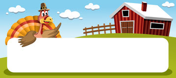 Thanksgiving Turkey with Banner in Farmland Royalty Free Stock Photo