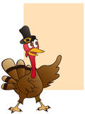 Thanksgiving turkey with blank sign Royalty Free Stock Photo