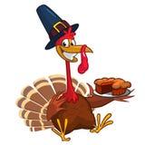 Thanksgiving turkey chief cook serving pumpkin pie. Vector cartoon. Royalty Free Stock Photography