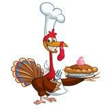 Thanksgiving turkey chief cook serving pumpkin pie. Vector cartoon. Royalty Free Stock Photos