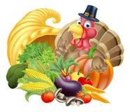 Thanksgiving Turkey and Cornucopia. Thanksgiving cartoon turkey bird wearing a pilgrim or puritan thanksgiving hat with cornucopia full of produce Stock Photography