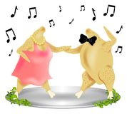 Thanksgiving Turkey Dance 2. A fun clip art illustration of a pair of dancing cooked turkeys - guy and a gal dressed up and having a good time on top of a royalty free illustration
