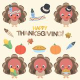 Thanksgiving Turkey Design Set. This Thanksgiving turkey vector set is full of fun elements inspired by Thanksgiving. It elements can be used separately or vector illustration