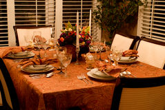 Thanksgiving Turkey Dinner. Table is set for an American Thanksgiving Dinner royalty free stock photography