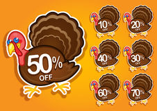 Thanksgiving Turkey discount stickers / labels. Funny Turkey Character offering discounts for Thanksgiving products Royalty Free Stock Images