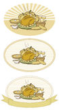 Thanksgiving Turkey-Duotone. Woodcut style illustration of turkey with pumpkin pie, pumpkins, potatoes, salad, vegetables, gravy, bread & wine with different royalty free illustration