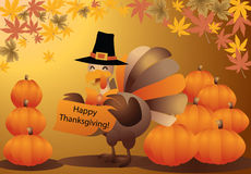 Thanksgiving turkey halloween pumpkin greeting car Stock Image
