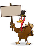 Thanksgiving turkey Holding A Blank Sign Stock Image