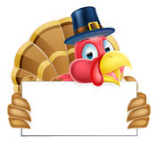 Thanksgiving Turkey Holding a Sign Stock Photos
