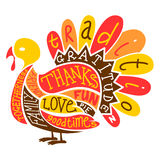 Thanksgiving Turkey. An illustration of a Thanksgiving Turkey made up from words often associated with the holiday
