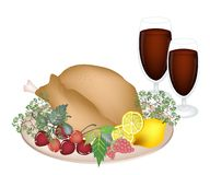 Thanksgiving Turkey with Lemon, Berry Fruit and Wi Royalty Free Stock Image