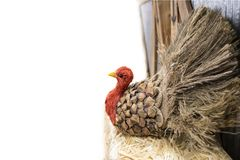 Thanksgiving Turkey Made Out Of Pinecone And Burlap And Straw At Side Of White Background With Room For Copy - Selective Focus Stock Images
