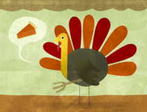 Thanksgiving Turkey and Pie. A turkey looking for some pumpkin pie Royalty Free Illustration
